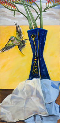 Blue And Red Painting - Green Bird Visits by Susan Culver