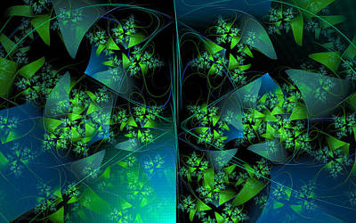 Green Blue And Black Abstract Fractal Art Original by Matthias Hauser
