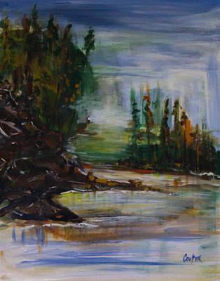 Green-blue Marsh Original by Pamela Cooper