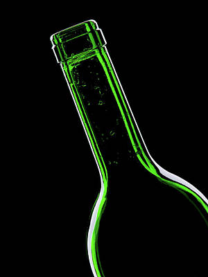Of Wine Bottles Photograph - Green Bottle On Black Background by Wladimir Bulgar