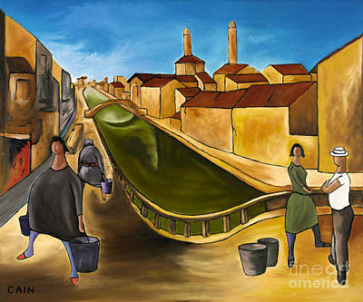 Life In Italy Painting - Green Canals  by William Cain