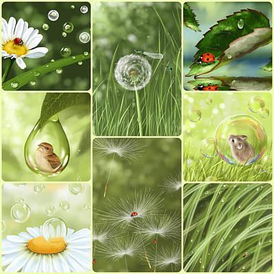 Ladybug Digital Art - Green Collage by Veronica Minozzi