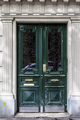 Green Door In Paris Print by Georgia Fowler