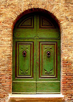 Green And Brown Photograph - Green Door by Ramona Johnston