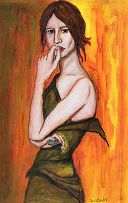 Bite Photograph - Green Dress And Mobile Phone, 2006 Pen & Ink And Inks On Paper by Stevie Taylor