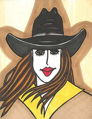 Eye Brows Painting - Green Eyed Cowgirl by Ray Ratzlaff