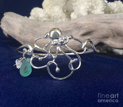 Sterling Silver Bracelet Mixed Media - Green Eyed Octopus  by Lisa DiNoia