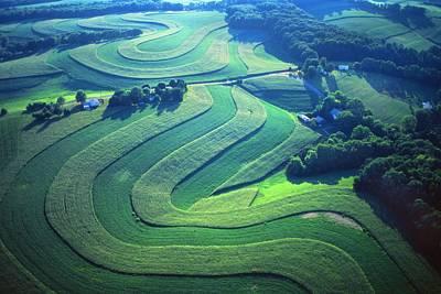 Green Farm Contours Aerial Print by Blair Seitz