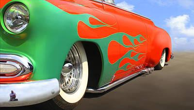 Street Rod Digital Art - Green Flames by Mike McGlothlen
