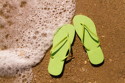 Green Flip Flops On The Beach Original by Teri Virbickis