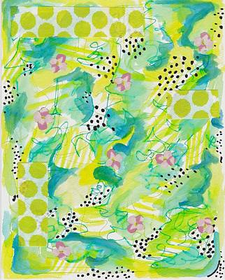 Green Floral Abstract Print by Rosalina Bojadschijew