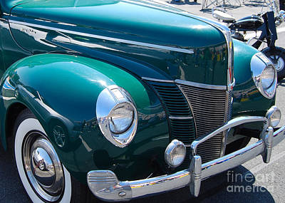 Collector Car Photograph - Green Ford Deluxe by Mark Spearman