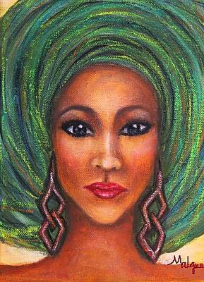African Woman Painting - Green Gele. by Mbwidiffu Malgwi