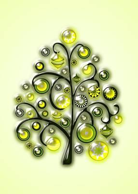 Festive Digital Art - Green Glass Ornaments by Anastasiya Malakhova