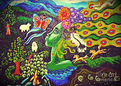 Green Goddess With Horses Print by Genevieve Esson
