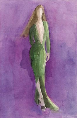 Green Gown - Watercolor Fashion Illustration Print by Beverly Brown Prints