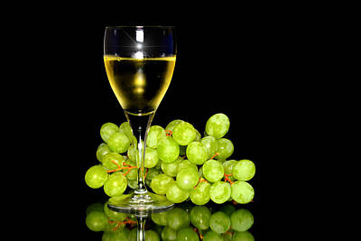 Green Grapes And A Glass Of White Wine  Original by Toppart Sweden