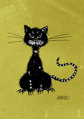 Green Grunge Evil Black Cat Print by Boriana Giormova