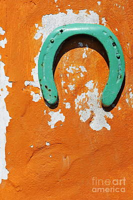 Photograph - Green Horseshoe Decorating Orange Wall by Sami Sarkis