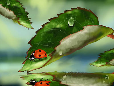 Ladybug Painting - Green Leaf by Veronica Minozzi