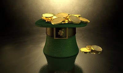 Coins Digital Art - Green Leprechaun Hat Filled With Gold Coins by Allan Swart