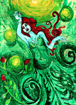 Green Mermaid With Red Hair And Roses Print by Genevieve Esson