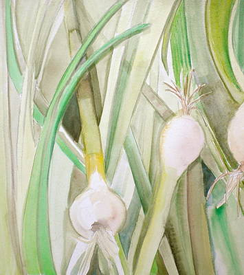 Foodie Painting - Green Onions by Debi Starr