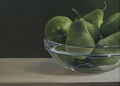Beige Glass Painting - Green Pears by Natasha Denger