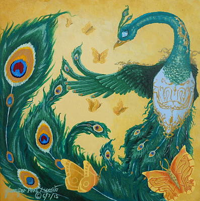 Extinct And Mythical Painting - Green Phoenix Of Peace by Jennifer  Anne Esposito