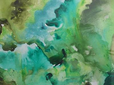 Free Form Painting - Green Piece by Audrey Bunchkowski