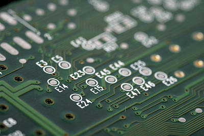 Green Printed Circuit Board Closeup Print by Matthias Hauser