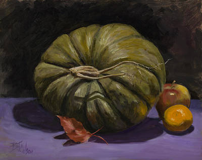 Green Pumpkin With Friends Print by Billie Colson