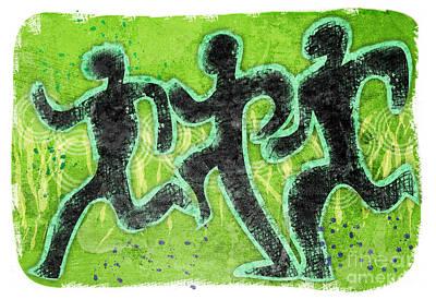 Green Runners Print by Alejandro Maldonado