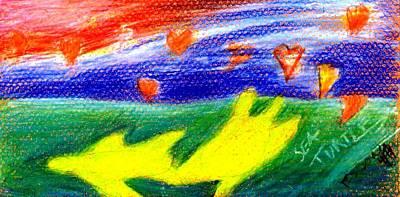 Sea Turtles Drawing - Green Sean Turtles by Genevieve Esson