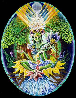 Sri Yantra Painting - Green Tara- Earth's Protectress And Connectress To The Domain Of Light by Morgan  Mandala Manley