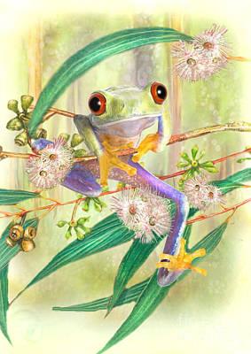 Green Tree Frog Print by Trudi Simmonds