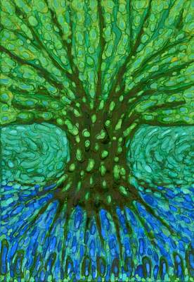 Green Tree Print by Wojtek Kowalski