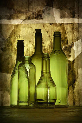 Wine Bottle Wall Art Photograph - Green Vintage Bottles Fine Art Decor Photograph by Randall Nyhof