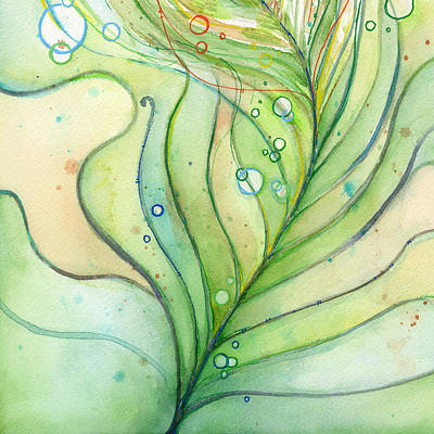 Feather Painting - Green Watercolor Bubbles by Olga Shvartsur