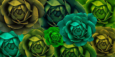 Green With Envy Rose Flower Abstract Print by Jennie Marie Schell