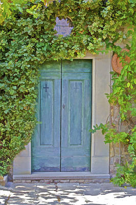 Green Wood Door Of Tuscany Print by David Letts