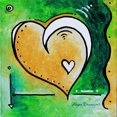Color Block Painting - Green Yellow Heart Love Painting Pop Art Peace By Megan Duncanson by Megan Duncanson