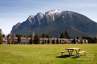 Nature Photograph - Greenbelt Picnic Table Subdivision Homes Mount Si North Bend by Christopher Boswell