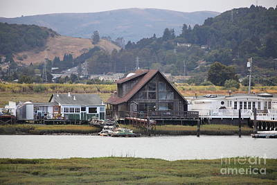 Greenbrae California Boathouses At The Base Of Mount Tamalpais 5d29347 Print by Wingsdomain Art and Photography