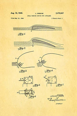 1949 Photograph - Greene Flight Stall Warning Device Patent Art 1949 by Ian Monk