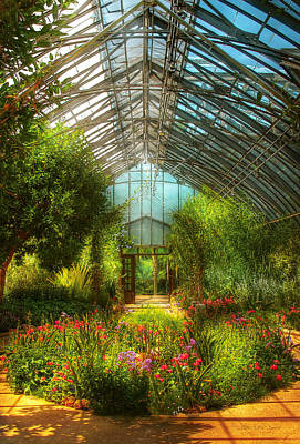 Custom Glass Photograph - Greenhouse - Paradise Under Glass  by Mike Savad