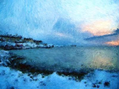 Digital Art - Greenland And The Bay_impressionist Digital Painting by Asbjorn Lonvig
