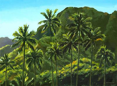 Palm Trees Painting - Greens Of Kahana by Douglas Simonson