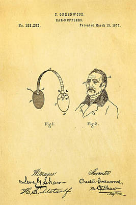 Muffler Photograph - Greenwood Ear Mufflers Patent Art 1877 by Ian Monk