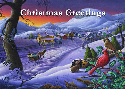 New England Snow Scene Painting - greeting card no 14 Christmas Greetings by Walt Curlee
